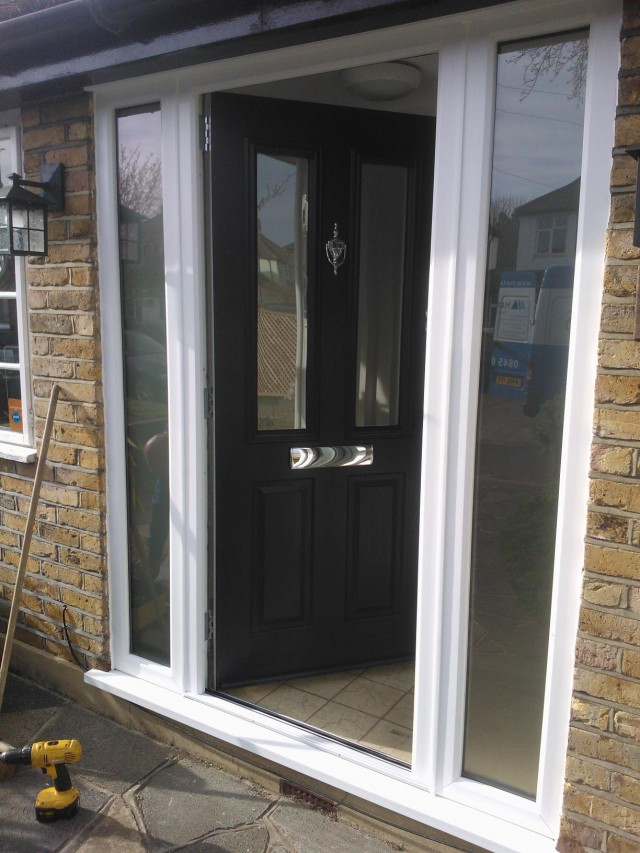 Black Ludlow Timber Composite Door Fitted Solidor