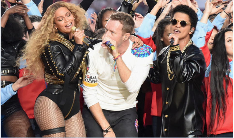 Beyonce, Bruno Mars & Chris Martin Superbowl