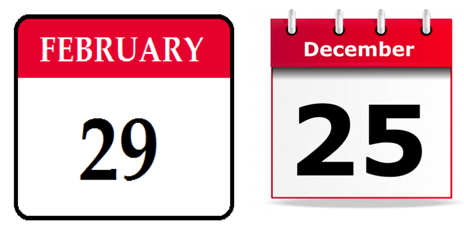 25th December or 29th February