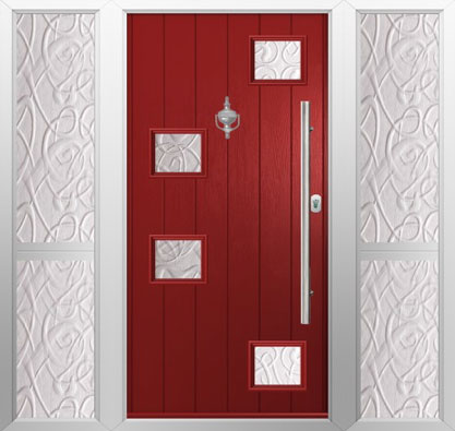 Solidor-Modena-with-twin-side-panels-in-red-with-everglade-glazing-and-contemporary-accessories